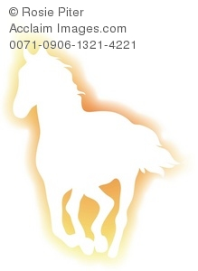 Gold Silhouette Of A Horse Running