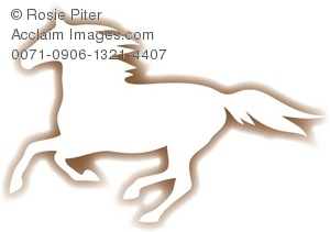 Brown Silhouette Of A Horse Running