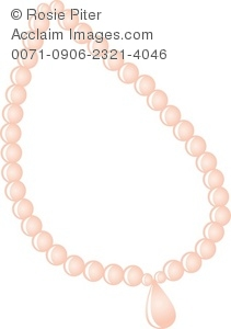 A Pink Pearl Necklace With A Pink Jewel