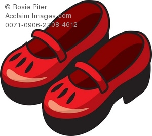 A Pair Of Red Decorated Mary Jane Style Shoes