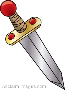 Clip Art Of A Sword With Red Jewels On It
