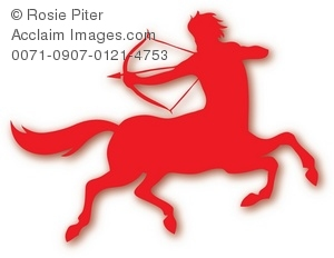 The Red Silhouette Of A Male Sagittarius Symbol