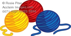 Three Colorful Balls Of Yarn