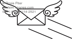 A Black And White Flying Envelope Email Icon