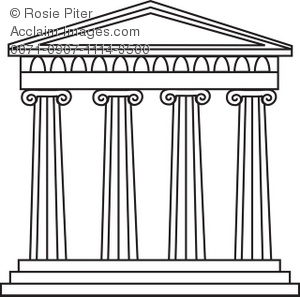 Black And White Greek Temple Royalty Free Clip Art Image