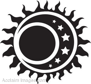A Tribal Sun With Moon And Stars