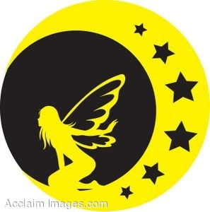 A Black And Yellow Silhouette Of A Fairy On The Moon