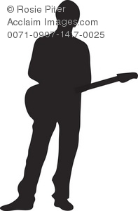 The Silhouette Of A Male Electric Guitar Player