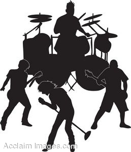 clip art of the silhouette of an all male band rh clipartguide com band clip art pictures band clipart free