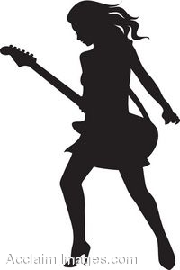 The Silhouette Of A Female Electric Guitar Player