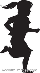 The Silhouette Child Running