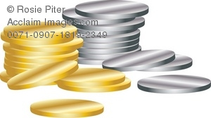 A Pile Of Gold And Silver Coins