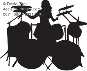 The Silhouette Of A Female Drummer