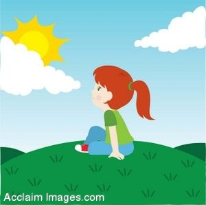 A Little Girl Sitting On A Hill Under The Sun