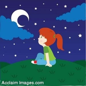 A Little Girl Sitting On A Hill Under The Moon