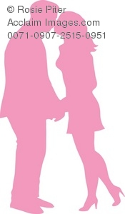 The Silhouette Of A Couple Kissing
