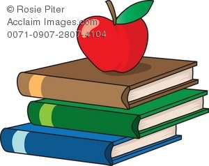 A Stack Of School Books With An Apple
