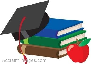 A Stack Of School Books With A Graduation Cap And An Apple