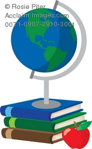 A Stack Of School Books With An Apple And A Globe