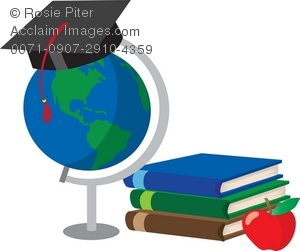 A Globe With School Books And A Graduation Cap And Apple