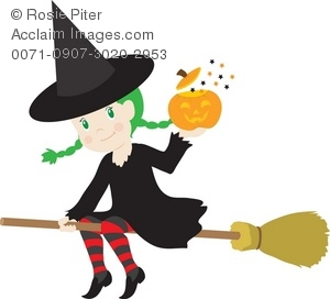 A Young Witch Flying On A Broom With A Pumpkin