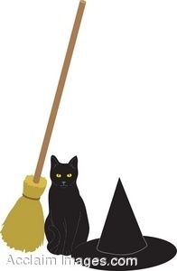 A Black Cat With A Witch Hat And A Broom