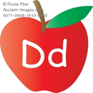 An Apple With The Letter D Written On It
