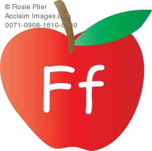 An Apple With The Letter F Written On It