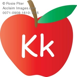 An Apple With The Letter K Written On It