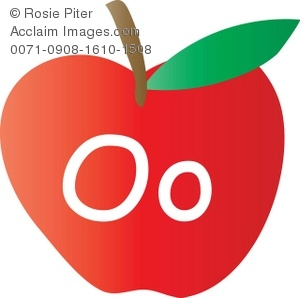 An Apple With The Letter O Written On It