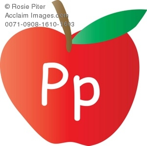 An Apple With The Letter P Written On It