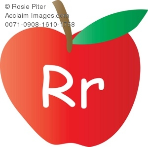 An Apple With The Letter R Written On It