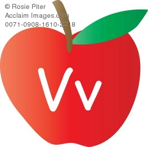 An Apple With The Letter V Written On It