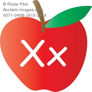 An Apple With The Letter X Written On It