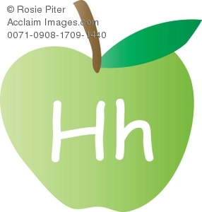 An Apple With The Letter H Written On It