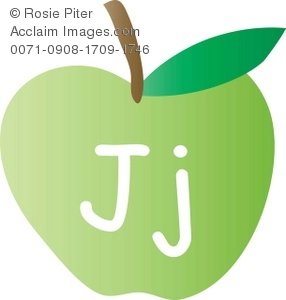 An Apple With The Letter J Written On It