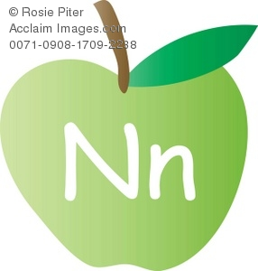 An Apple With The Letter N Written On It
