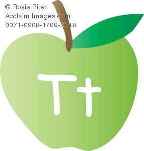 An Apple With The Letter T Written On It