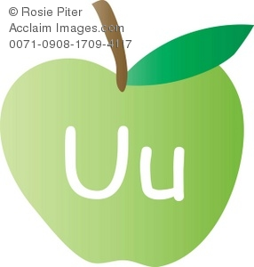 An Apple With The Letter U Written On It