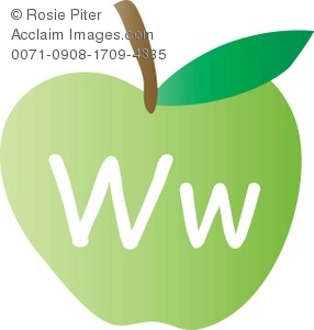 An Apple With The Letter W Written On It