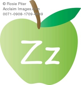 An Apple With The Letter Z Written On It