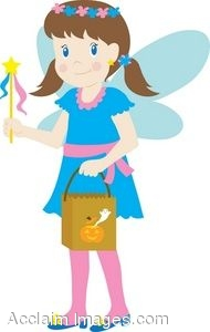 Girl In A Fairy Costume With A Candy Bag