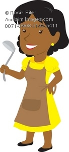 A Young Woman In An Apron Holding A Ladle