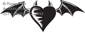 A Heart With Bat Wings And Horns