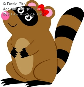 female raccoon with a bow on her head royalty free clip art image rh clipartguide com raccoon clip art free images free raccoon clipart
