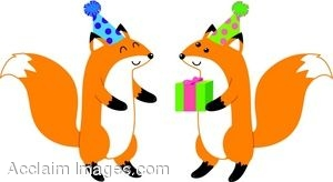 Foxes In Party Hats With A Present