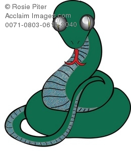 Dark Green, Coiled Snake