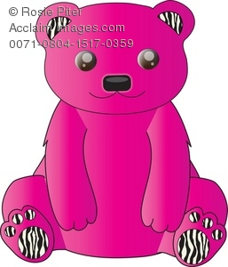 Bright Pink Stuffed Bear With Zebra Print