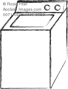Chalk drawing of a white washing machine or clothes washer