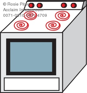 Drawing of a stove, the type one would find in a typical home kitchen